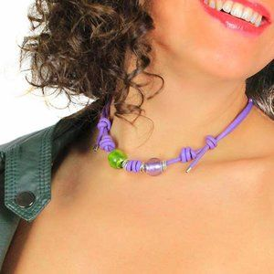 Violet Green Glass Beaded Adjustable Leather Neckl